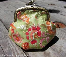 Handmade Fantasy Inspired Green Asian Floral Artist Print Coin Purse, Change Purse, Coin Pouch