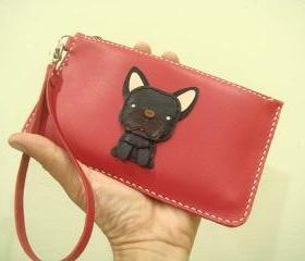 Duke the French Bulldog leather Wristlet ( Red )