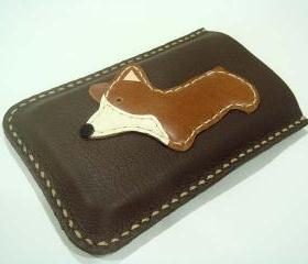 Corgi Iphone leather case with bumper case size ( Dark Brown )