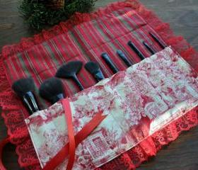 Handmade Couture Christmas Toile Makeup Brush Roll, Paintbrush Roll, Makeup Brush Case, Paintbrush Case