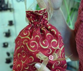 Red and Gold Swirl Holiday Pouch Purse, Drawstring Pouch, Gift Wrap, Fantasy Pouch Purse