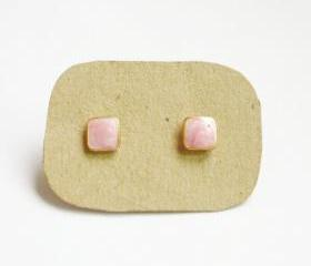 SALE - Lil Sweet Pink Square Stud Earrings - 6 mm - Gift under 10