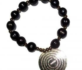 Black Fresh water Pearls gold Filled Padre Nuestro bracelet