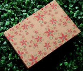 POINSETTIA - Christmas Notebook - Handmade Hard Cover Journal - Stocking Stuffer - A6 - Free Shipping