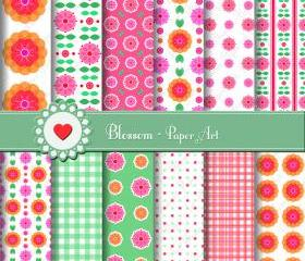 Pink Orange Flowers Digital Printable Paper Sheets - Scrapbooking - DIY Projects - Personal and Commercial Use - 1493