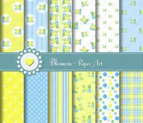 Light Blue - Yellow - Baby Floral - Digital Scrapbooking Paper Pack - Baby Showers Deco - DIY Projects - Personal and Commercial Use - 1487