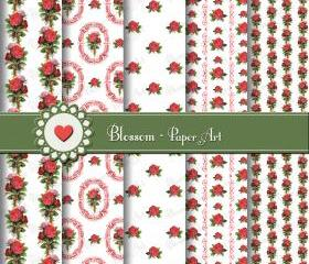 Vintage Roses Scrapbooking Paper - Digital - Printable - Shabby Chic - DIY Projects - 1509