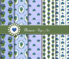 Blue Vintage Roses Scrapbooking Paper - Digital - Printable - DIY Projects - Personal and Commercial Use - 1512