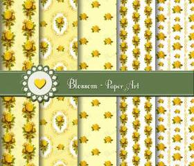 Yellow Vintage Roses Scrapbooking Paper - Digital - Printable - DIY Projects - Personal and Commercial Use - 1511