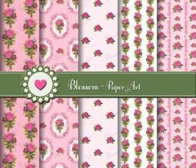 Pink Vintage Roses Scrapbooking Paper - Digital - Printables - DIY Projects - Personal and Commercial Use - 1510
