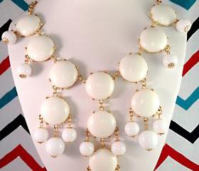 White J-CREW Inspired Bubble Statement Bib Necklace