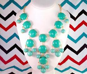 Teal Turquoise J-CREW Inspired Bubble Statement Bib Necklace
