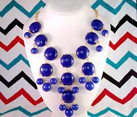 Blue Royal Cobalt J-CREW Inspired Bubble Statement Bib Necklace