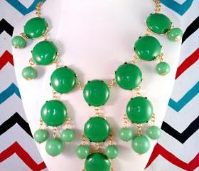 Kelly Green J-CREW Inspired Bubble Statement Bib Necklace