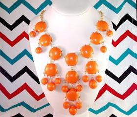 Orange J-CREW Inspired Bubble Statement Bib Necklace