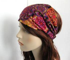 Fabric Headband Womens Head Wrap Yoga Bandana Pinwheel Kaleidoscope Cotton Print Fall Style Accessory