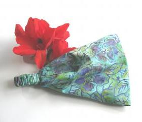 Tropical Flower Batik Fabric Headband Yoga Hair Head Wrap Womens Gypsy Bandana Teal Purple Blue Cotoon Print
