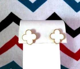 Van Cleef & Arpels Designer Inspired White Clover Stud Earrings