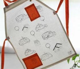 Children apron with cars screenprinted for coloring - Cotton apron for children from 5 years and up.