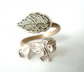 silver Lion wrap ring