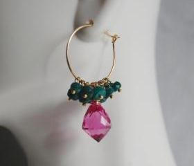 Gemstone Hoop Chandelier Earrings - Hot Pink Quartz and Gorgeous Emerald Hoop Chandelier Earrings