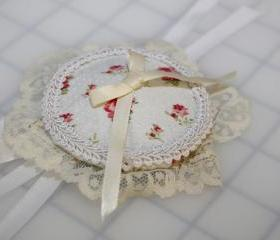 Round Off-White Floral Circle Eye Patch Pink Flowers Eyepatch Cream Lace and Satin Bow with White Ribbon Ties