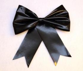 Black Shiny Pleather Faux Leather Hair Bow Barrette