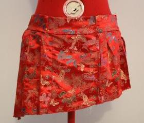 Red Asian Silk with Floral and Butterflies Design Asymmetrical Pleated Skirt Side Zip