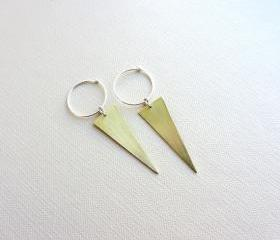 Geometric Gold Brass triangle earrings, Sterling silver hoop