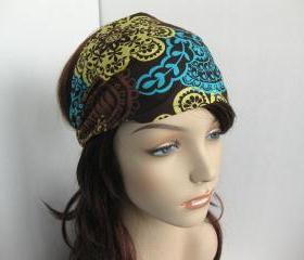 Bohemian Headband Women's Boho Head Wrap Brown Yellow Light Teal Floral Hair Bandana Michael Miller Fabric Autumn Fall Fashion Style