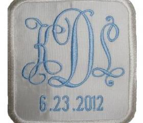 Square Custom Embroidered Wedding Gown Label Silk
