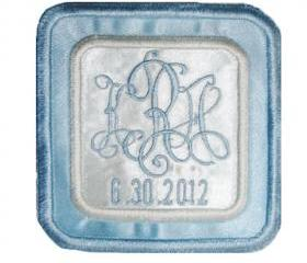 Bridal Blue Two Color Satin Square Custom Embroidered Wedding Gown Label