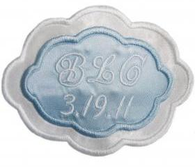 Bridal Blue Two Color Satin Oval Custom Embroidered Wedding Gown Label