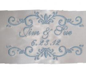 Double Scroll Satin Wedding Gown Label