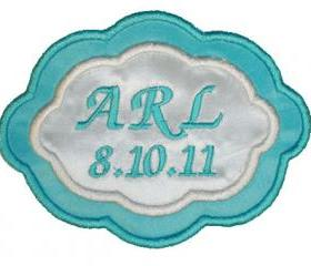 Tiffany Blue Two Color Satin Oval Custom Embroidered Wedding Gown Label
