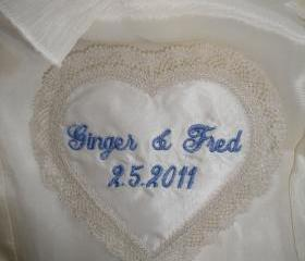 Heart and Created Lace Wedding Satin Gown Label