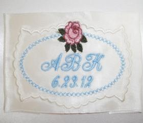 Rosebud Ribbon Satin Wedding Gown Label