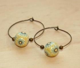 Polymer Clay Beads and Brass Charms Dangle Earrings