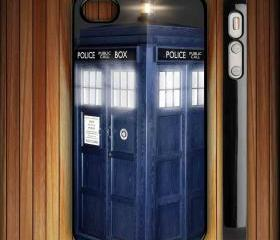 Dr Who Tardis British Police Box Case for iPhone 4 4S black