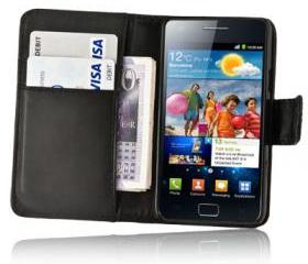 Black Wallet Leather Case for Samsung Galaxy S2