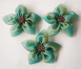 Emerald Green Holographic Organza Fabric Flower Appliques Embellishments(3 pcs)