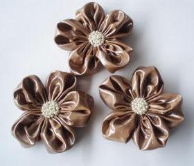 Taupe Vinyl Like Fabric Flower Appliques Embellishments(3 pcs)From BizimSupplies
