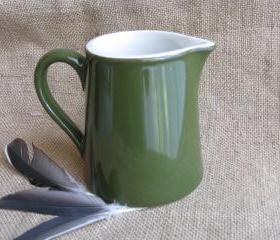 Vintage Hall Green & White Creamer Collectible Restaurant Ware