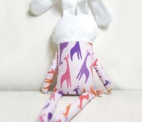 sweet softie rabbit in pyjama * violet with giraffes
