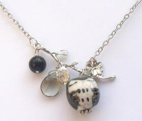 Silver Leaf Agate Quartz Porcelain Owl Necklace