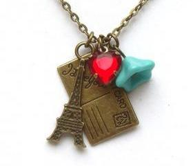 Antiqued Brass Eiffel Tower Postcard Czech Glass Flower Necklace