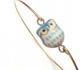 Brass Porcelain Owl Bracelet