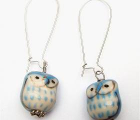 Silver Plated Brass Porcelain Owl Earrings