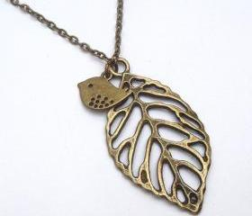 Antiqued Brass Leaf Bird Necklace