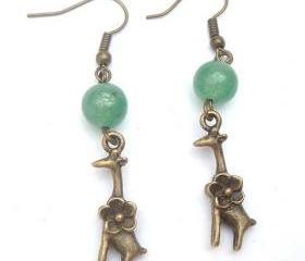 Antiqued Brass Giraffe Green Jade Earrings